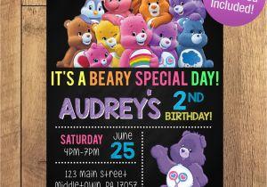 Care Bear Birthday Invitations Care Bear Birthday Party Invitation Free Thank You Included