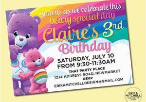 Care Bear Birthday Invitations Care Bears Birthday Invite Digital File Custom Birthday