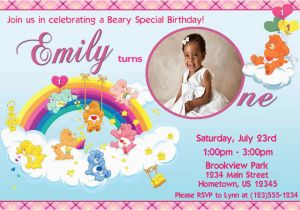 Care Bear Birthday Invitations Personalized Photo Invitations Cmartistry Care Bears