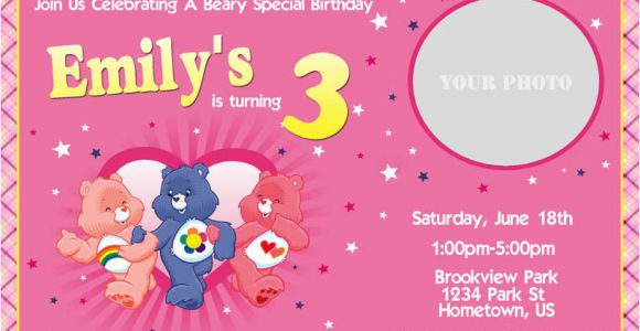 Care Bear Birthday Invitations Personalized Photo Invitations Cmartistry Care Bears