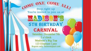 Carnival Birthday Invites Circus Carnival Birthday Invitation Printable or Printed with
