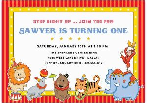 Carnival First Birthday Invitations Circus Animals Paperstyle
