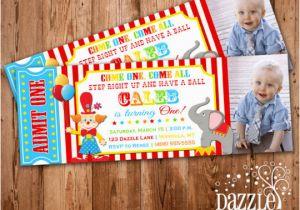 Carnival First Birthday Invitations Circus Ticket Photo Invitation