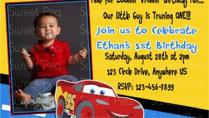 Cars 1st Birthday Invitations Disney Car 39 S 1st Birthday Invitation or Thank by