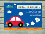 Cars 1st Birthday Invitations Transportation Birthday Invitation Printable Boy