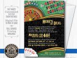 Casino themed Birthday Invitations Casino theme Invitation for Birthday Party Casino Game Night