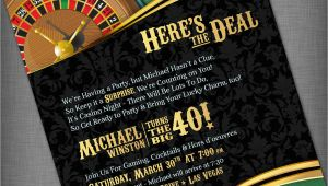Casino themed Birthday Invitations Casino theme Invitation for Birthday Party Casino Game Night
