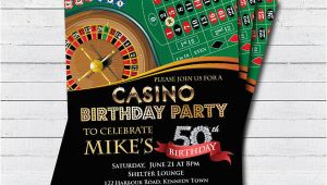 Casino themed Birthday Party Invitations Casino 50th Birthday Invitation Adult Man Birthday Surprise
