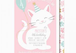 Cat Birthday Invitations Printables Invitation Pink Party Printable Or Printed