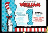 Cat In the Hat 1st Birthday Invitations Nealon Design Cat In the Hat First Birthday
