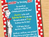 Cat In the Hat Birthday Party Invitations Cat In the Hat Custom Birthday Invitation