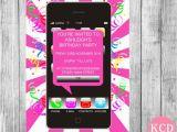 Cell Phone Birthday Invitations 10 Mobile Phone Invitations Girls Birthday by