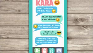 Cell Phone Birthday Invitations Cell Phone Emoji Sleep Over Teen Invitation Tween 12th