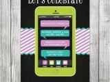 Cell Phone Birthday Invitations Chalkboard Teen Cell Phone Birthday Invite 5×7 Jpg
