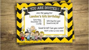 Charlie Brown Birthday Invitations Charlie Brown Birthday Party Invitation Peanuts Movie