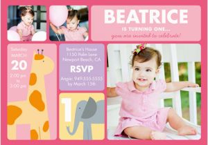Cheap 1st Birthday Invitations 1st Birthday Invites with Giraffe and Elephant Omg Photos