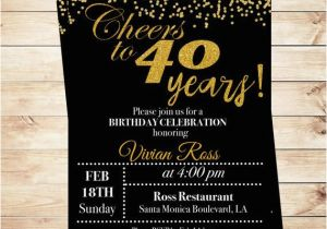 Cheap 40th Birthday Invitations Cheers To 40 Years Printable Invitation