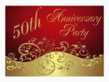 Cheap 50th Birthday Invitations Red Swirl 50th Anniversary Party Invitation In Each Seller