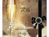Cheap 70th Birthday Invitations 70th Sepia Champagne Glass Black Diamond Announcement Zazzle