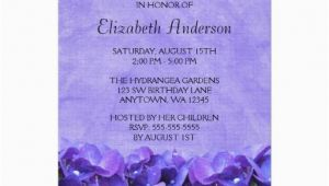 Cheap 80th Birthday Invitations Gt Discount Purple Hydrangeas 80th Birthday Party