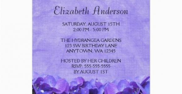 Cheap 80th Birthday Invitations Gt Discount Purple Hydrangeas Party