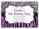 Cheetah Print Birthday Invitation Templates Animal Print Pink and Black Party Invitations