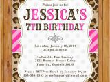 Cheetah Print Birthday Invitation Templates Leopard Print Birthday Party Invite Pink Stripes Polka Dots
