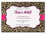Cheetah Print Birthday Invitation Templates Leopard Print with Pink Trim Personalised Birthday Party
