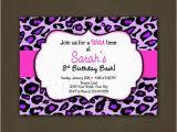 Cheetah Print Birthday Invitation Templates Purple Leopard Animal Print Birthday Invitation Printable