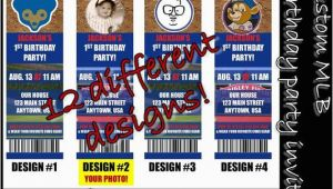 Chicago Cubs Birthday Invitations Chicago Cubs themed Birthday Invitation Tickets Baseball
