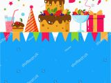 Child Birthday Cards Designs Happy Birthday Card Flat Vector Illustration Stock Vector