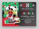 Christmas 1st Birthday Invitations Christmas Birthday Invitation Christmas 1st Birthday Santa