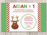 Christmas 1st Birthday Invitations Reindeer 1st Birthday Invitations Holiday Winter Birthday