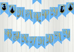 Cinderella Happy Birthday Banner Cinderella Banner Cinderella Happy Birthday Banner