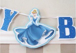Cinderella Happy Birthday Banner Cinderella Happy Birthday Banner Blue Glitter with by