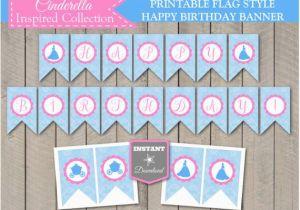 Cinderella Happy Birthday Banner Instant Download Printable Cinderella Inspired Happy