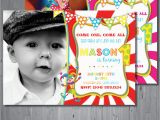 Circus themed 1st Birthday Invitations Circus Birthday Invitation First Birthday Party by