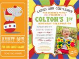 Circus themed 1st Birthday Invitations Circus First Birthday Invitations Best Party Ideas