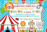 Circus themed 1st Birthday Invitations Colorful Circus Birthday Invitation You Print Digital File