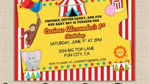 Circus themed 1st Birthday Invitations Curious George Invitation Birthday 1st First Circus theme
