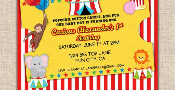 Circus themed 1st Birthday Invitations Curious George Invitation Birthday 1st First Circus theme