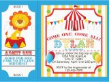 Circus themed 1st Birthday Invitations Invite Admit One Circus Carnival Pinterest