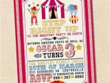 Circus themed 1st Birthday Invitations Step Right Up Circus Invitation Circus themed Party Circus