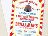 Circus themed Birthday Invites Carnival or Circus Party Invitations