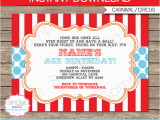 Circus themed Birthday Invites Circus Invitation Template Red Aqua Circus Invitations
