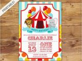 Circus themed Birthday Invites First Birthday Carnival Invite Circus Invitation Carnival
