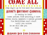 Circus themed Birthday Invites Free Printable Carnival Party Invitation Template
