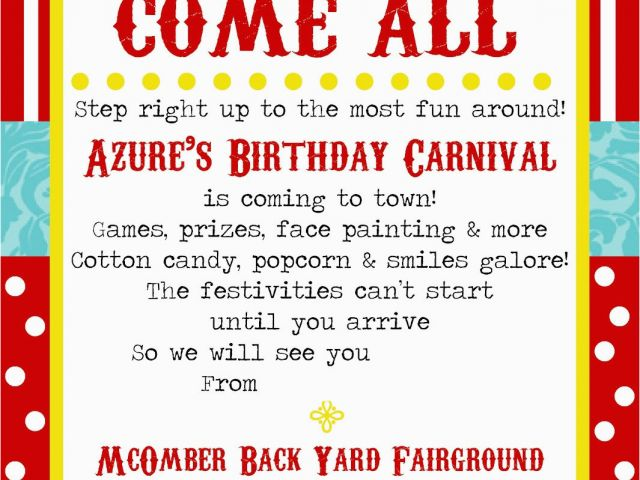 Circus Themed Birthday Invites Free Printable Carnival Party