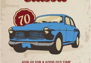 Classic Car Birthday Invitations Car Classic 70th Birthday Free Birthday Invitation