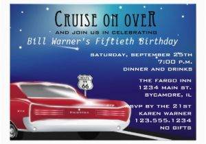 Classic Car Birthday Invitations Classic Car Birthday Party Invitation 5 5 Quot X 7 5